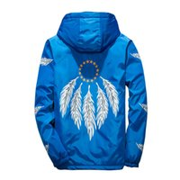 Wholesale liner zipper resale online - 2018 Casual Blue Feather Print Hooded Cotton Liner Winter Coat Men
