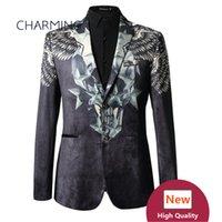 formale stoffe großhandel-Mans Anzüge (top) 3D-Druck hochwertiger Samt Stoff Bräutigam Kleid formelle Anlässe junge Herren Anzüge