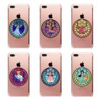 Wholesale Iphone 4s Case Princess - Exquisite cartoon cute princess design pattern clear PC hard case for iphone 6 6s 7 Plus 4s 5c 5s SE transparent phone cover