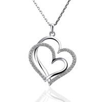 meilleure chaîne en or pour les femmes achat en gros de-Meilleur cadeau blanc or blanc cristal bijoux collier pour femme DGN498, coeur or 18 carats gemme pendentif collier avec des chaînes