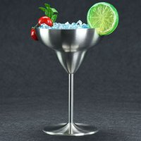 Wholesale Glass Cup Brush - 220ML Stainless Steel Walled Margarita Glass Savage Wine Goblet Brushed Stainless Steel Red Wine Cup Champagne Cocktail Cup Goblet