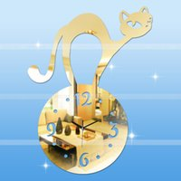 Wholesale Modern Interior Clock - Wholesale-Free Shipping Modern DIY Interior cat shape DIY Luxury 3D Wall Clock Large Size Surface Home Decoration Art Clock