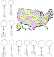 Wholesale New York Ring - America 50 State Map Pendant Key Rings With Heart DIY Stainless Steel Key Ring Alaska Texas Idaho New York State Map Keychain