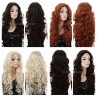 Wholesale Orange Blonde Long Wig - ePacket free shipping Women Long Lolita Curly Wavy Long Black Blonde Brown Orange Cosplay Party Wigs