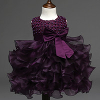 Wholesale summer baptism gown resale online - Summer Newborn Formal Dress Purple Sleeveless Infant Baptism Ball Gown Dress Clothes For Toddler Girl First Birthday Party