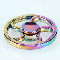 Wholesale Focus Wheels - Colorful Round Rainbow Fire Wheel EDC Fidget Spinner Metal Hand Spinner for Autism and ADHD Relief Focus Stress Gift Finger Toys