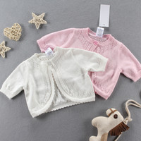 Wholesale Full Manual - Everweekend Girls Baby Knitted Cardigan Sweater Jackets Pink and White Color Crochet Spring Fall Cape Outwear