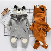Outono Baby Boys Roupas 2017 Babies Cartoon Cotton Jumpsuits Childrens Casual Hooded Romper Kids Christmas Clothing