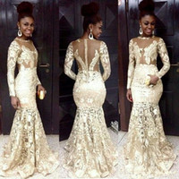 Wholesale modest evening gowns for women - 2017 South African Style Evening Dresses Lace Sheer Neck Long Sleeve Mermaid Beaded Modest Prom Dress For Woman Plus Size Formal Party Gowns