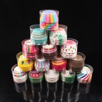 Wholesale Patterned Greaseproof Paper - 100 Pcs Cartoon Lovely Greaseproof Mini Cupcake Paper Cup Liners Baking Holder Muffin Cases Pattern at Random