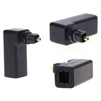 Wholesale Toslink Male - Freeshipping Audio Connector Optical TosLink Female to TosLink Male Plug 90 degree angled adapter for DVD Player  Game Console  Cable Box
