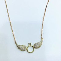 Wholesale Gold Rhinestone Wings Ring - 2017new style jewelry angel wings ring necklace for women, 3 colors pandent full of crystal girl gift freeshipping