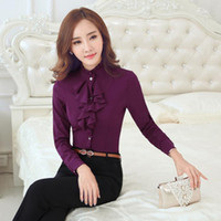 Wholesale Dress Korean Chiffon Fashion Woman - Fashion Stand Autumn And Winter Woman Lead Lotus Leaf Korean OL Long Sleeve Occupation Suit-dress Rendering Shirt