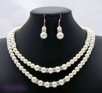 Wholesale Southsea Shell Pearl Silver - Bridal Wedding Southsea Shell Pearl Necklace Earrings 17-18""