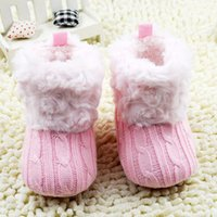 Wholesale Baby Girl Crib Boots - New Fantastic Infant Baby Crochet Knit Boots Booties Toddler Girl Winter Snow Crib Shoes Hot W79