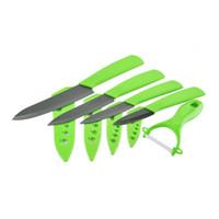 "Wholesale Zirconia Knife Blade - Ceramic Knife set 3"" 4"" 5"" inch+6 inch Serrated Bread Knife+Peeler Zirconia Black Blade Fruit Cooking Kitchen Knives 5pcs set handmade"