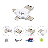 Wholesale Otg Smart Card Readers - 4 in 1 otg card reader for type c for iPhone 7 6s for Samsung s7 s6 and PC smart memory card adapter