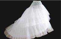anágua de camadas longas venda por atacado-2 Crinolina 3 Camada de Fios Branco Petticoat para Cauda Longa Vestido De Noiva Vestido de Noiva Crinolina Rockabilly Anágua Acessórios