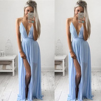 Wholesale Maxi Dress Front Sexy - Sexy Deep V-neck Baby Blue Prom Dresses 2017 Chiffon Spaghetti Straps V Neck Side Split Evening Dresses Cheap Maxi Party Dresses BA2184