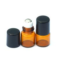 viales de 1 ml al por mayor-50pcs 1ml botella de vidrio rollo aceite esencial botella de vidrio ámbar rodillo en 1 ml pequeños frascos de muestra de perfume