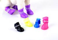zapato protector del perro al por mayor-Candy Colours Dog Boots Waterproof Protective Rubber Pet Rain Shoes Botines para Perro Gato