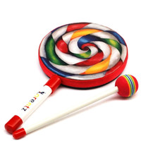 Wholesale Drum Music Instruments - Carl Percussion Instrument 6 Inch Lollipop Tambourine Drums Music Teaching Aid Musical Lps Toys Pandeiro Xylophone