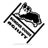 Wholesale Decal Borders - Border Collie Window stickers Personalized Locomotive Waterproof decals Reflective film carved car stickers cute pet Hollow stickers