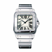 Wholesale geneva watches online - Luxury Top Brand Men Square Watches Geneva Genuine Stainless Steel Quartz Watches High Quality Fashion Mens Santo Watches