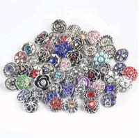 Wholesale Green Rhinestone Button - Hot Wholesale 50pcs Lot Mix Many styles High quality 18mm Metal Snap Button Charm Rhinestone Styles Button DIY Snaps Jewelry NOOSA chunk