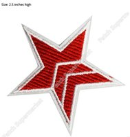 Wholesale Point Tv - MASS EFFECT COSPLAY N7 Red Five Point Star Costume TV Movie Embroidered Emblem punk rockabilly applique sew on iron on patch
