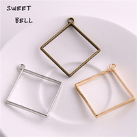 Wholesale Blank Jewelry Square - Min order 20pcs 44*48mm Alloy jewelry setting accessories square charms Hollow glue blank pendant tray bezel charms DIY Handmade D6096-1