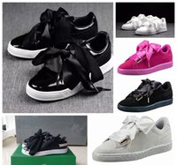Wholesale Dark Blue Bow Tie - Free shipping Bow tie suede basket heart satin black white and pink board shoes basketball silk banded bow goddess shoes with box 36-40