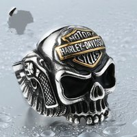 Wholesale 2017 BIKER STAINLSS STEEL skull ring hip hop jewelry for