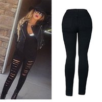 Wholesale Most Skinny - Wholesale- The most Women Denim Skinny Ripped Pant High Waist Stretch Jeans Slim Pencil Trousers