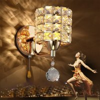 Wholesale Chain Light Fixtures - AC85-265V pull chain switch crystal wall lamp lights Modern Zipper Stainless Steel Bedside lighting wall Sconces Lighting Fixture