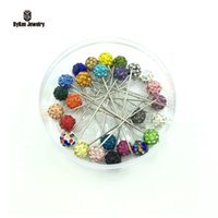Wholesale muslim hijab pins - Wholesale- 50pcs box New Fashion Colorful 8mm Rhinestone Ball Muslim Brooch Pin Hijab Scarf Pins, Scarf Clip,Wedding Pin,Can Pick Color
