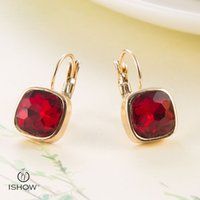 Wholesale Wholesale Red Rhinestone Square Studs - New Alloy plating Gold square earrings Women Red Crystal Wedding Studs Noble Boho Wholesale Oorbellen Brincos Boucle d'oreille