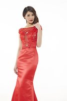 Wholesale Types Modern Dress Sleeves - The New Satin Evening Mopping Ground A Red Backless Type Dinner Dresses Fashion Sexy Lace Shoulder Banquet Cocktail Party Dresses