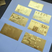 Wholesale Hot Foil Type - New Christmas Decorations Euro Gold Foil Banknotes 7PCS set 500 200 100 50 20 10 5 Commemorative banknotes Hot Creative Gifts Collections
