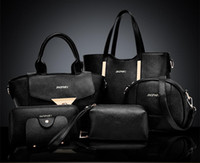 Wholesale Pu Leather Handbag Yellow - 6pcs set New designer handbag Women Lash Package PU Leather Bags Crocodile Pattern Handbag Fashion Shoulder Bag Clutch Bag Free Shipping