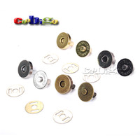 Wholesale Magnetic Fastener - 10set Magnetic Snap Fasteners Clasps Buttons Handbag Purse Wallet Craft Bags Parts Accessories 14mm 18mm Pick Colors