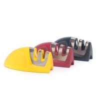 Wholesale Tungsten Steel Kitchen Knife - New Sharpener Household Kitchen Knife Tools Diamond Tungsten Steel Kitchen Small Grindstone Duplex Ceramic Free Shipping