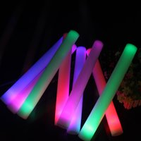 Wholesale Led Glow Foam Sticks Blue - 4 * 48cm led foam stick light up cheering Glow sticks Party props sponge stick flash stick EMS Free shipping (Red Green Blue)