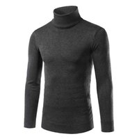 Wholesale Mens Thin Turtleneck - Wholesale- Mens Turtleneck Sweater Pullover New Autumn Winter Slim Fit Solid Color Knitted Jersey Hombre Sweater Men High Collar Jumpers