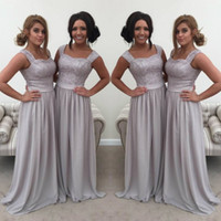 Wholesale Ivory Lace Long Aline Dresses - New Cheap Wedding Guest Dress Lace Sweetheart Sleeveless Zipper Back Bridesmaid Dress Elegant ALine Chiffon Floor Length Bridesmaids Dresses