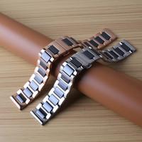 pulsera de ajuste de engranajes al por mayor-Correa negra con plata de acero inoxidable rosegold correa de reloj pulsera de correa 20mm 22mm fit relojes inteligentes hombres gear s2 s3 frontier classic
