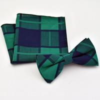 Wholesale Business Shirt Tie Set - cotton bow tie handkerchief set for man plaid butterfly pocket square 2pcs dress shirt collar bowtie hanky satin bowknot