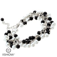 Wholesale Material Wristbands - White & Black glass pearl bracelets New & Fashion Middle eastern popular Unisex Acrylic Material Tennis Wristband HYB1427
