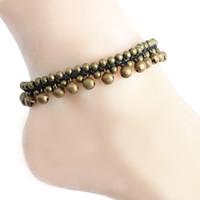 Wholesale Gold Plastic Bells - Vintage Boho Bracelet Foot Jewelry Pulseras Retro Jingle Bell Anklet Women Girl Ankle Leg Chain Charm Bracelet Fashion Jewelry
