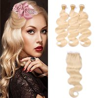 Wholesale Brazilian Lace Full Head Closure - Full Head #613 Blonde Body Wave Virgin Hair 3 Bundles With Lace Closure Brazilian Blonde Human Hair Weaves With 4*4 Top Closure